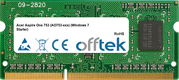 Aspire One 753 (AO753-xxx) (Windows 7 Starter) 1GB Module - 204 Pin 1.5v DDR3 PC3-8500 SoDimm