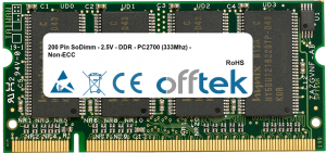 200 Pin SoDimm - 2.5V - DDR - PC2700 (333Mhz) - Non-ECC 1GB Module