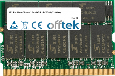 172 Pin MicroDimm - 2.5v - DDR - PC2700 (333Mhz) 512MB Module