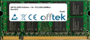 200 Pin DDR2 SoDimm - 1.8v - PC2-3200 (400Mhz) - Non-ECC 1GB Module