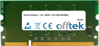 144 Pin SoDimm - 1.8V - DDR2 - PC2-5300 (667Mhz) 1GB Module