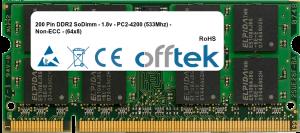 200 Pin DDR2 SoDimm - 1.8v - PC2-4200 (533Mhz) - Non-ECC - (64x8) 1GB Module