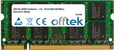 200 Pin DDR2 SoDimm - 1.8v - PC2-5300 (667Mhz) - Non-ECC (64x8) 1GB Module