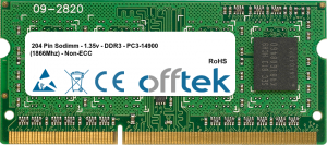 204 Pin Sodimm - 1.35v - DDR3 - PC3-14900 (1866Mhz) - Non-ECC   4GB Module