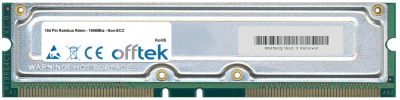 184 Pin Rambus Rimm - 1066Mhz - Non-ECC 256MB Module