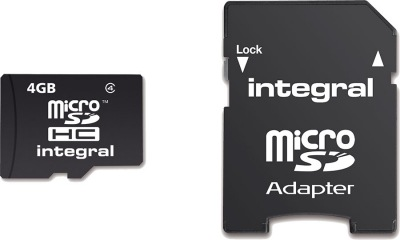 Integral Micro SDHC (with Adaptor) (Class 4) 4GB Card (Class 4)