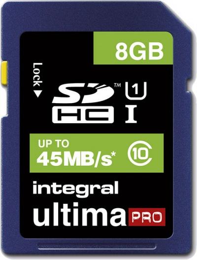 Integral SDHC (Class 10 - 45x) 8GB Card (Class 10 - 45MB/s)