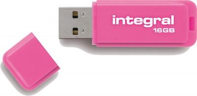 Integral Neon USB Drive 16GB Drive (Pink)