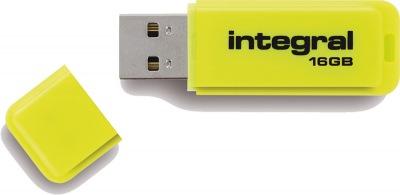 Integral Neon USB Drive 16GB Drive (Yellow)