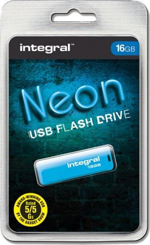 Integral Neon USB Drive 16GB Drive (Blue)