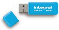 Integral Neon USB 3.0 Flash Drive 64GB Drive (Blue)