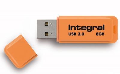 Integral Neon USB 3.0 Flash Drive 8GB Drive (Orange)